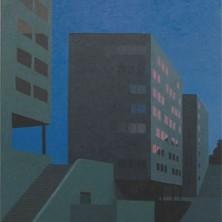 Bert van Ommen Drie flats in schemering 150 x 110 cm