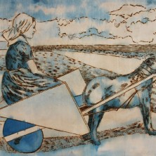 Neoplasticistic cart with dog, 150 x 97 cm, pyrography on plywood, blue ink, 2014
