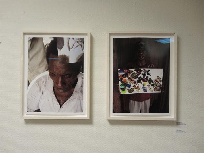 Twee foto's van Roy Villevoye. Een studie naar de huidskleur van Marcus Bini. Een stap op weg naar het wassenbeeld van de Asmat met de pasgeboren dochter van Villevoye in zijn handen.