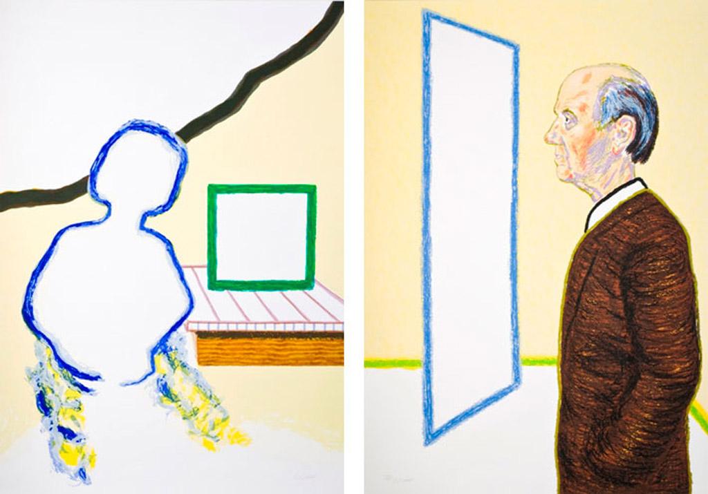 Toen zat zij aan een tafel - kijken in de leegte van een rechthoek, een tweeluik van Roger Raveel