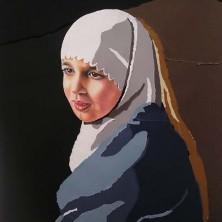Zeynep, (naar Vermeer), 150 x 170 cm, pastel op papier