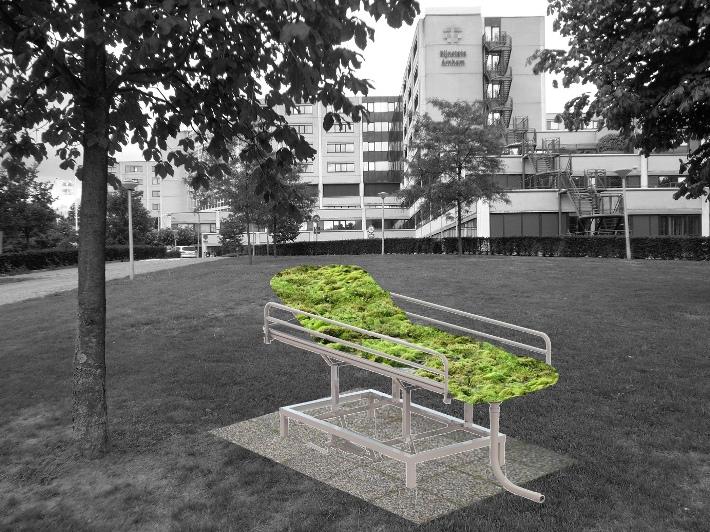 Het mosbed van Annechien Meier in opdracht van Future Cities/Gemeente Arnhem