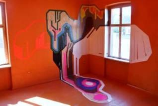 Een werk van Jochem Rotteveel direct op de wand getapet