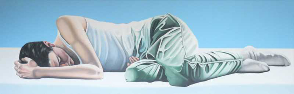 Yvonne van Woggelum, slapende jongen, 50 x 150 cm, acryl op linnen